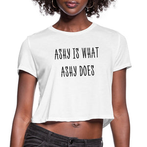 Women's Cropped T-Shirt Ashy Is What Ashy Does - Women's Cropped T-Shirt - Neter Gold - white / S - NTRGLD