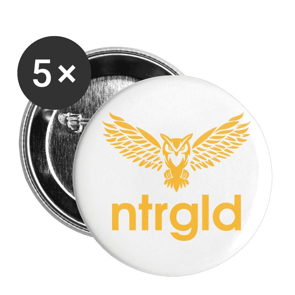 Buttons small 1'' (5-pack) Buttons small 1'' (5-pack) - Neter Gold - white - NTRGLD