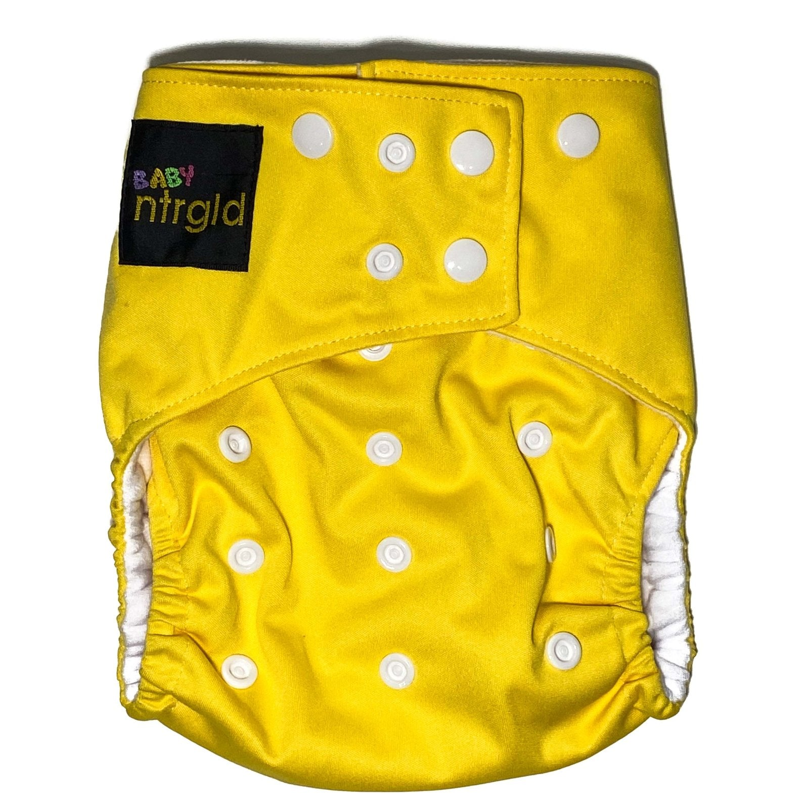 Cloth Baby Diaper w/ Removable Charcoal Bamboo Insert - Neter Gold YELLOW