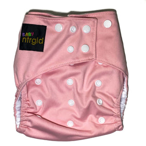 Cloth Baby Diaper w/ Removable Charcoal Bamboo Insert - Neter Gold PINK