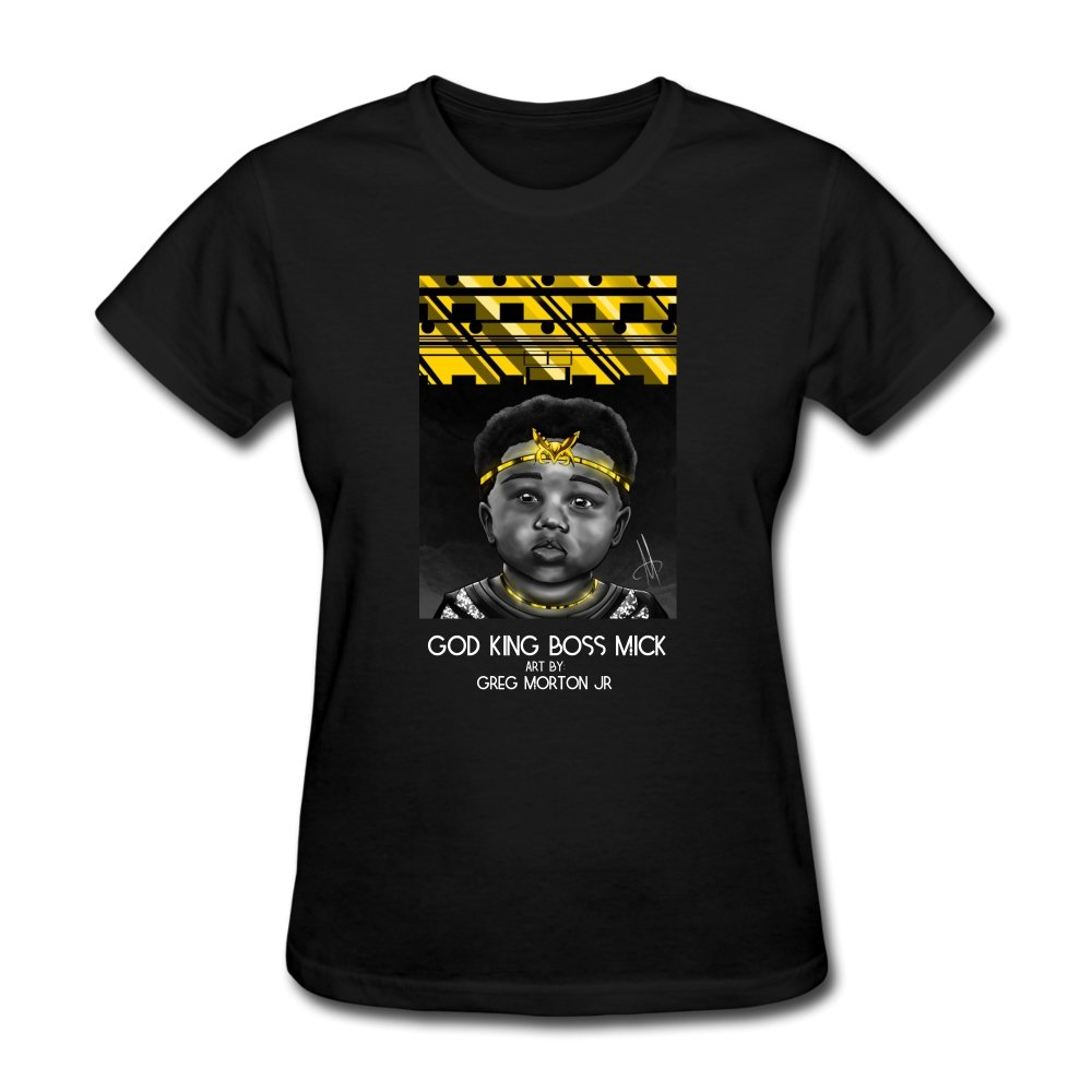 Women's T-Shirt God King Boss Mick By: Greg Morton Jr - Women's T-Shirt - Neter Gold black / S