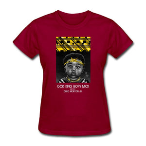 Women's T-Shirt God King Boss Mick By: Greg Morton Jr - Women's T-Shirt - Neter Gold dark red / S