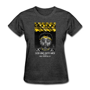 Women's T-Shirt God King Boss Mick By: Greg Morton Jr - Women's T-Shirt - Neter Gold heather black / S
