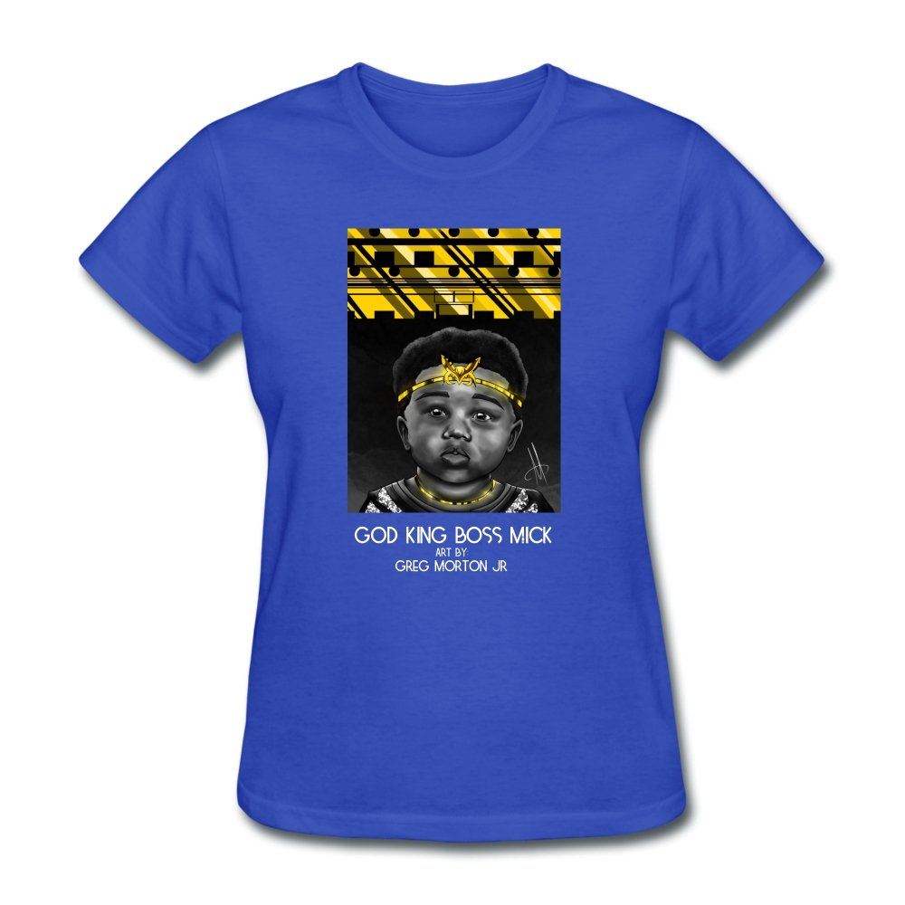 Women's T-Shirt God King Boss Mick By: Greg Morton Jr - Women's T-Shirt - Neter Gold royal blue / S