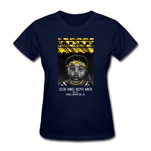 Women's T-Shirt God King Boss Mick By: Greg Morton Jr - Women's T-Shirt - Neter Gold navy / S