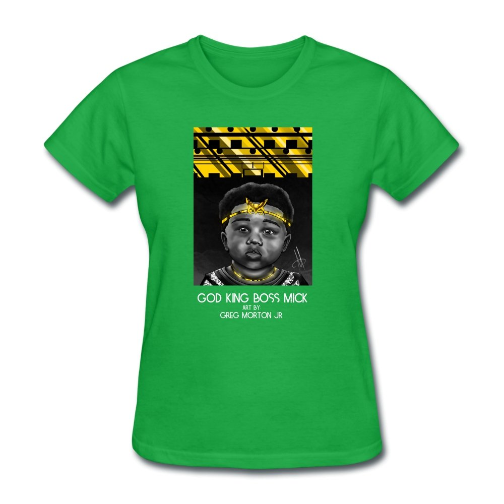 Women's T-Shirt God King Boss Mick By: Greg Morton Jr - Women's T-Shirt - Neter Gold bright green / S