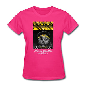 Women's T-Shirt God King Boss Mick By: Greg Morton Jr - Women's T-Shirt - Neter Gold fuchsia / S
