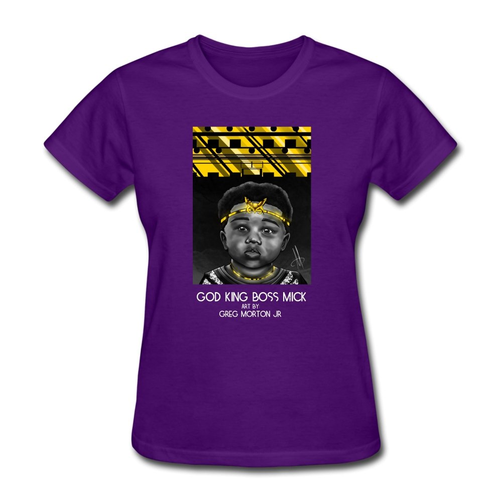 Women's T-Shirt God King Boss Mick By: Greg Morton Jr - Women's T-Shirt - Neter Gold purple / S