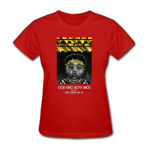 Women's T-Shirt God King Boss Mick By: Greg Morton Jr - Women's T-Shirt - Neter Gold red / S