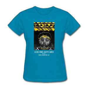 Women's T-Shirt God King Boss Mick By: Greg Morton Jr - Women's T-Shirt - Neter Gold turquoise / S