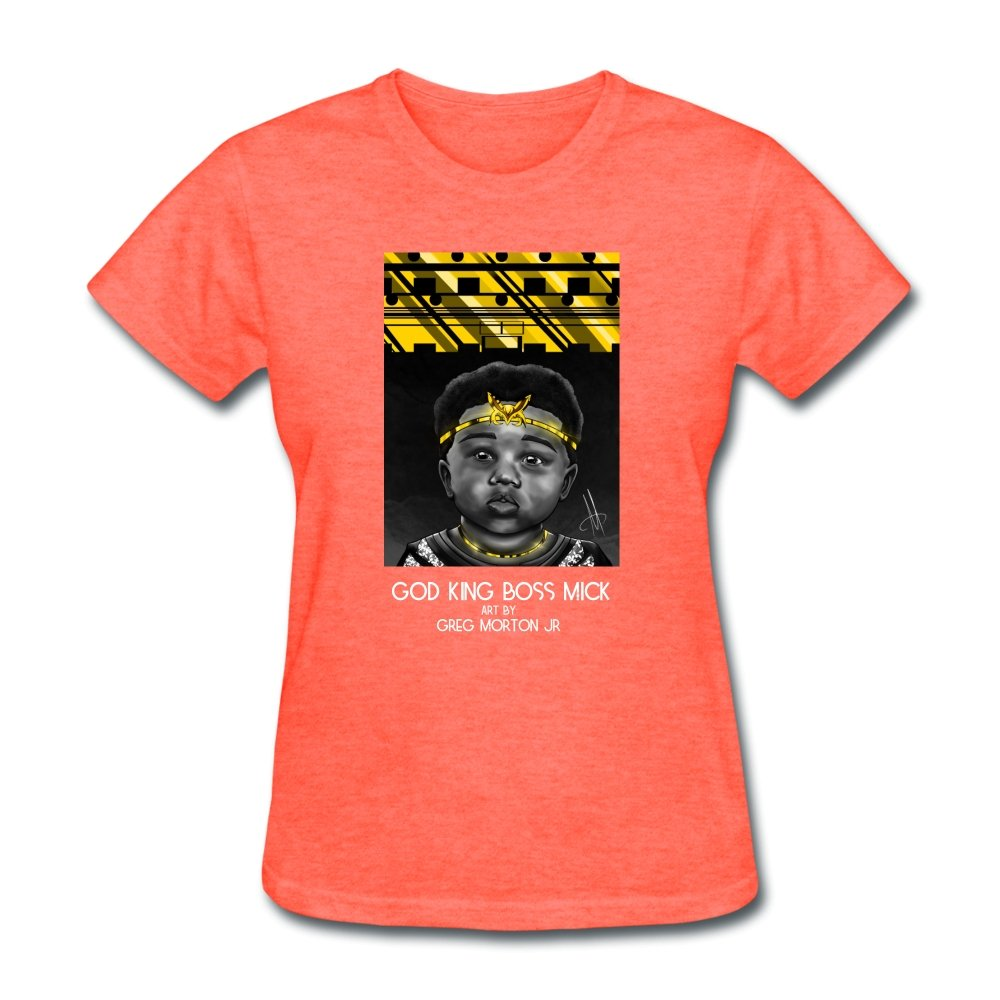 Women's T-Shirt God King Boss Mick By: Greg Morton Jr - Women's T-Shirt - Neter Gold heather coral / S