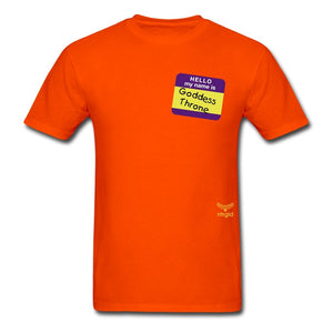 Men's T-Shirt Hi, My Name Is Goddess Throne - Men's T-Shirt - Neter Gold - orange / S - NTRGLD