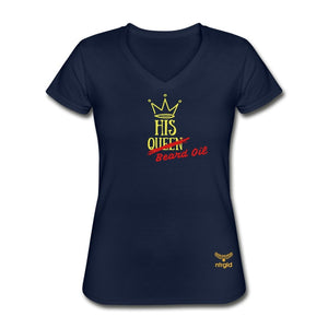 "Women's V-Neck T-Shirt His ""Queen"" Beard Oil - Women's V-Neck T-Shirt - Neter Gold - navy / S - NTRGLD"