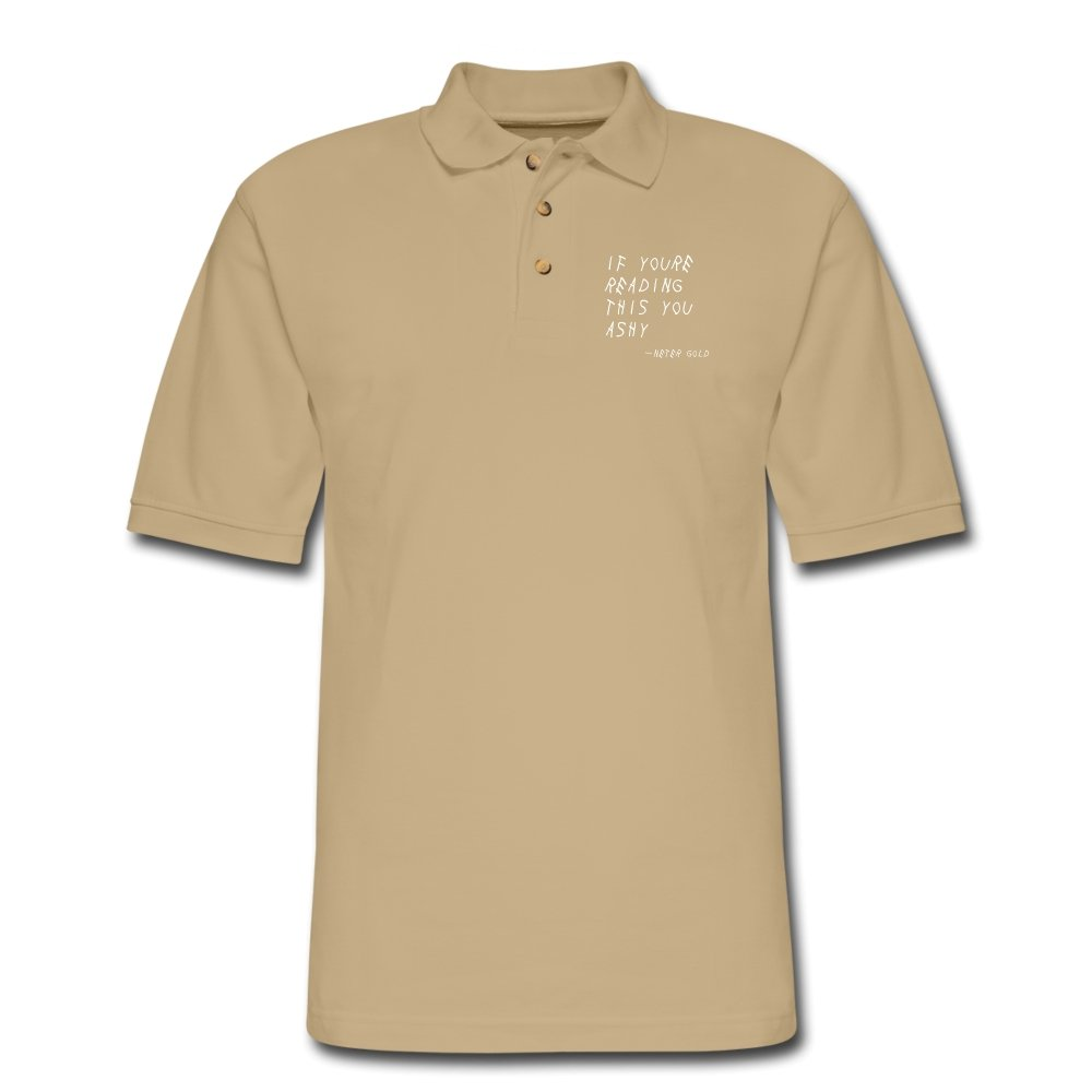 Men's Pique Polo Shirt | Harriton M200 If You're Reading This You Ashy - Men's Pique Polo Shirt - Neter Gold beige / S