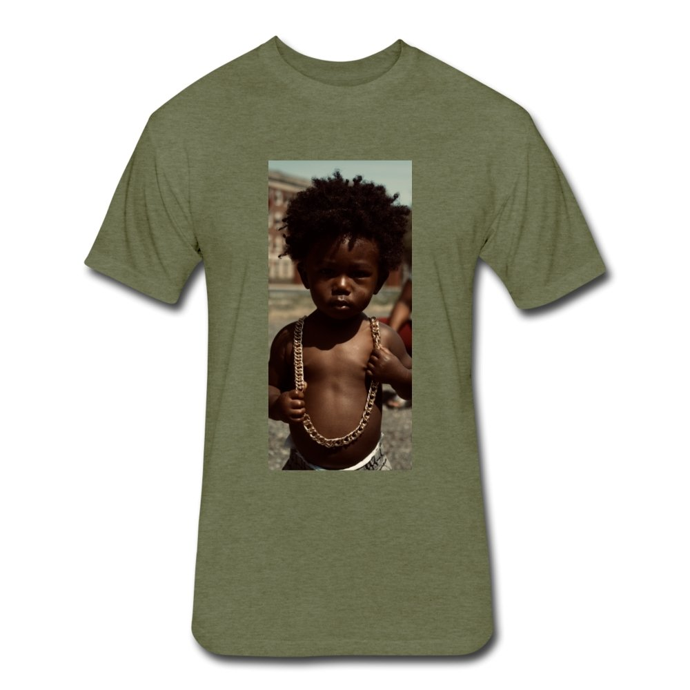 Fitted Cotton/Poly T-Shirt by Next Level Lord Of The Drip - Fitted Cotton/Poly T-Shirt - Neter Gold heather military green / S