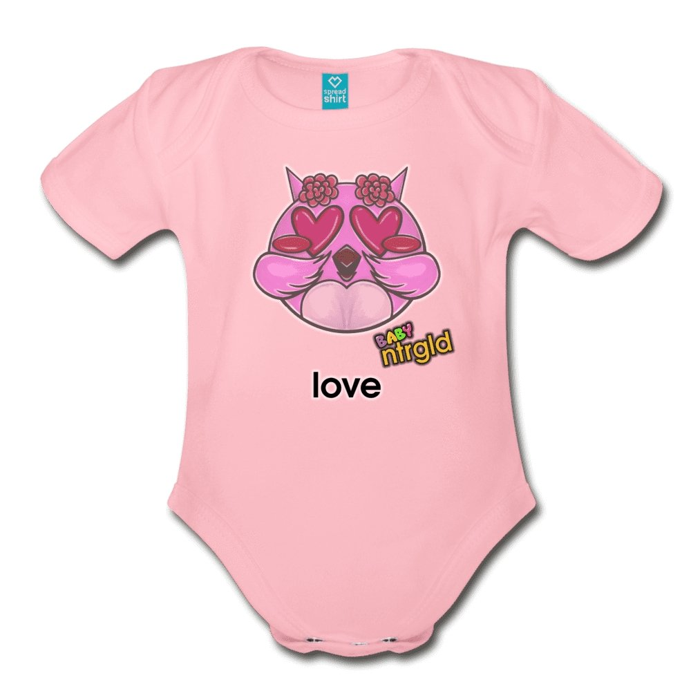 Organic Short Sleeve Baby Bodysuit LOVE OWLIE - Organic Short Sleeve Baby Bodysuit - Neter Gold - light pink / Newborn - NTRGLD