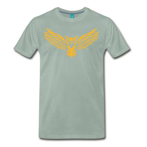 Men's Premium T-Shirt NEBU OWL LOGO TEE - Men's - Neter Gold steel green / M