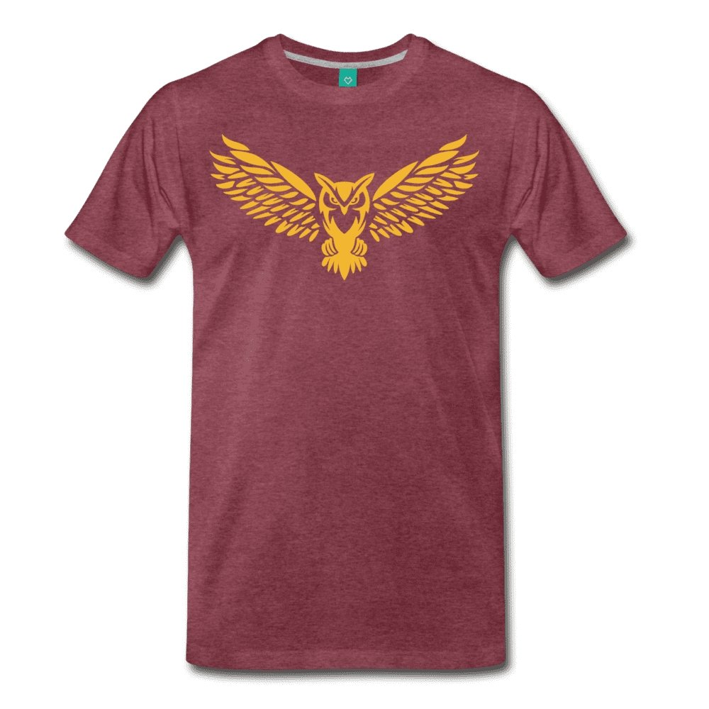Men's Premium T-Shirt NEBU OWL LOGO TEE - Men's - Neter Gold heather burgundy / M