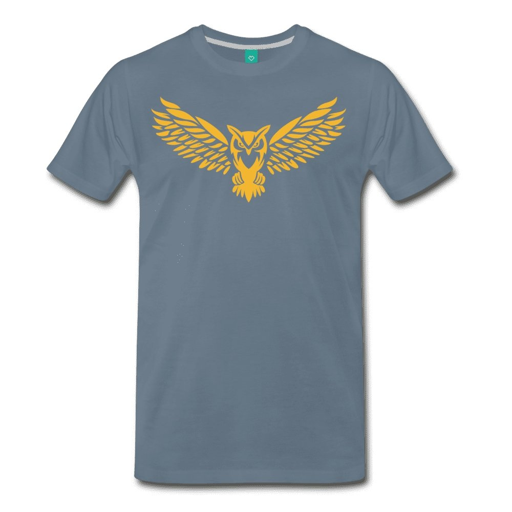Men's Premium T-Shirt NEBU OWL LOGO TEE - Men's - Neter Gold steel blue / M