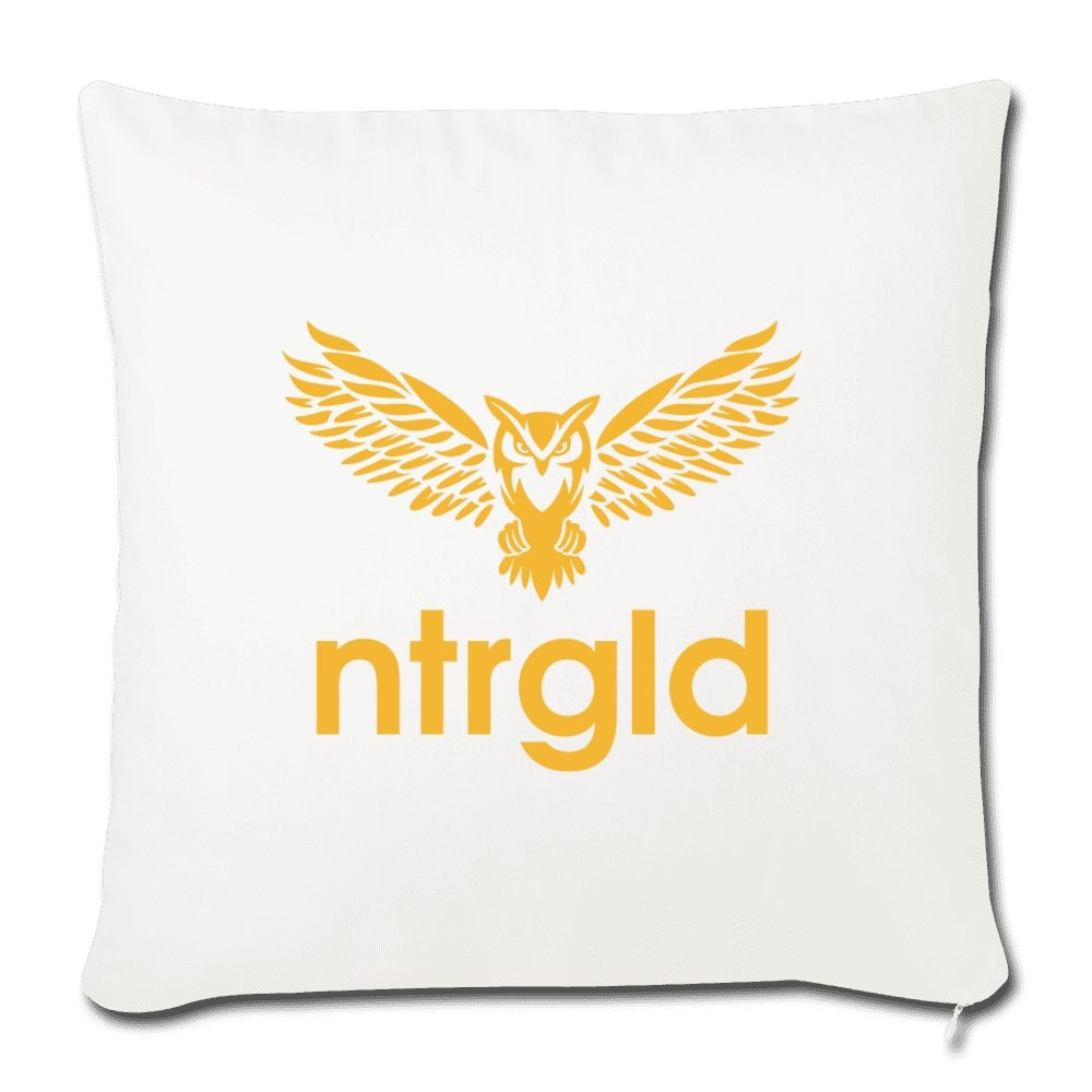 "Throw Pillow Cover 18"" x 18"" NEBU OWL - Throw Pillow Cover 18"" x 18"" - Neter Gold - natural white - NTRGLD"