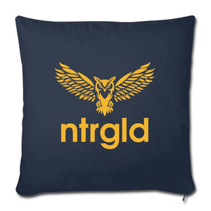 "Throw Pillow Cover 18"" x 18"" NEBU OWL - Throw Pillow Cover 18"" x 18"" - Neter Gold - navy - NTRGLD"