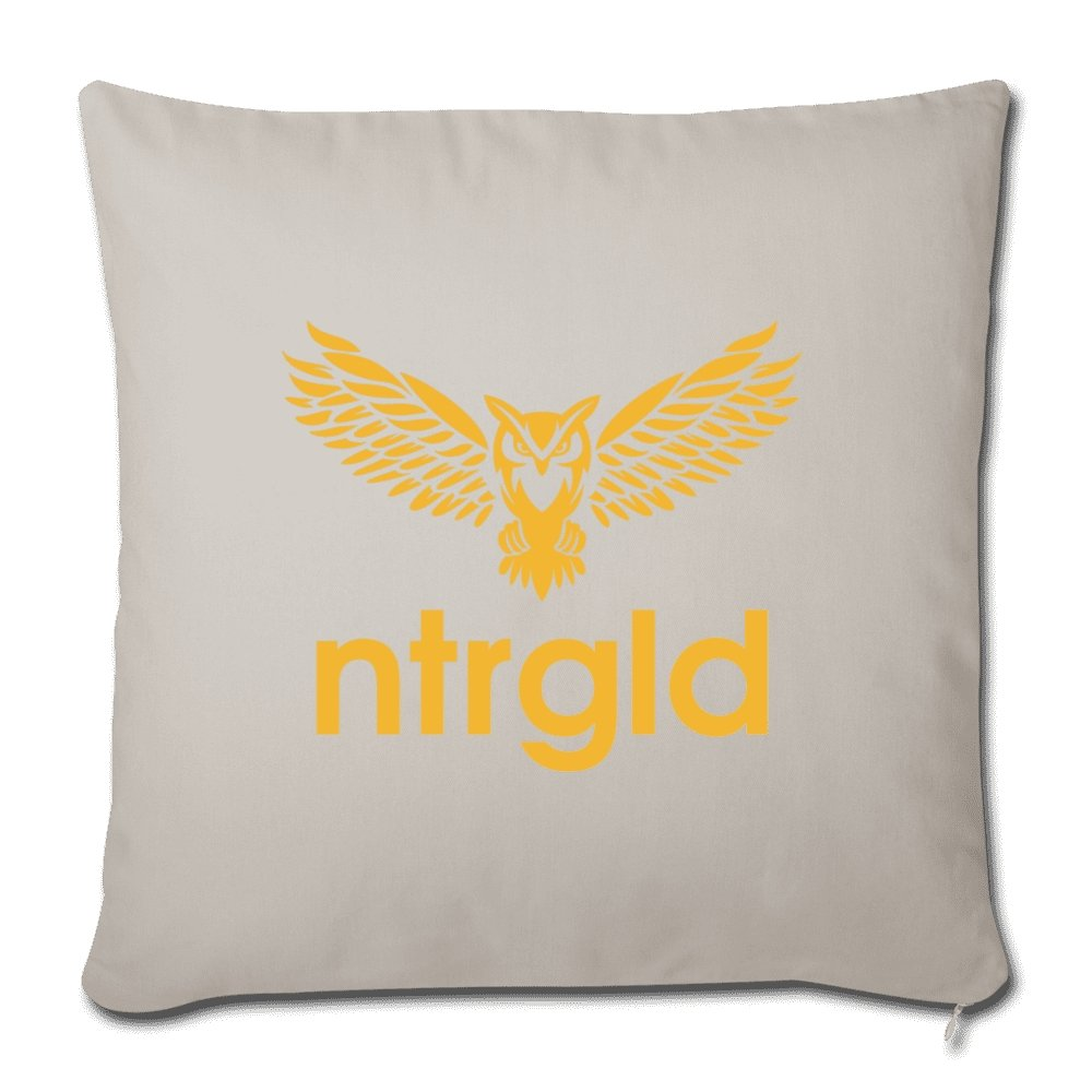 "Throw Pillow Cover 18"" x 18"" NEBU OWL - Throw Pillow Cover 18"" x 18"" - Neter Gold - light grey - NTRGLD"