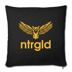 "Throw Pillow Cover 18"" x 18"" NEBU OWL - Throw Pillow Cover 18"" x 18"" - Neter Gold - black - NTRGLD"