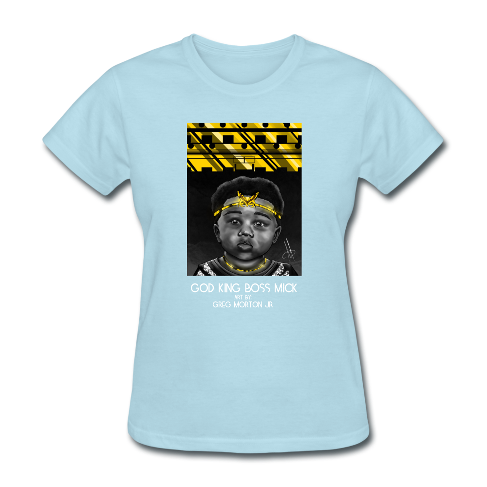 Women's T-Shirt God King Boss Mick By: Greg Morton Jr - Women's T-Shirt - Neter Gold powder blue / S