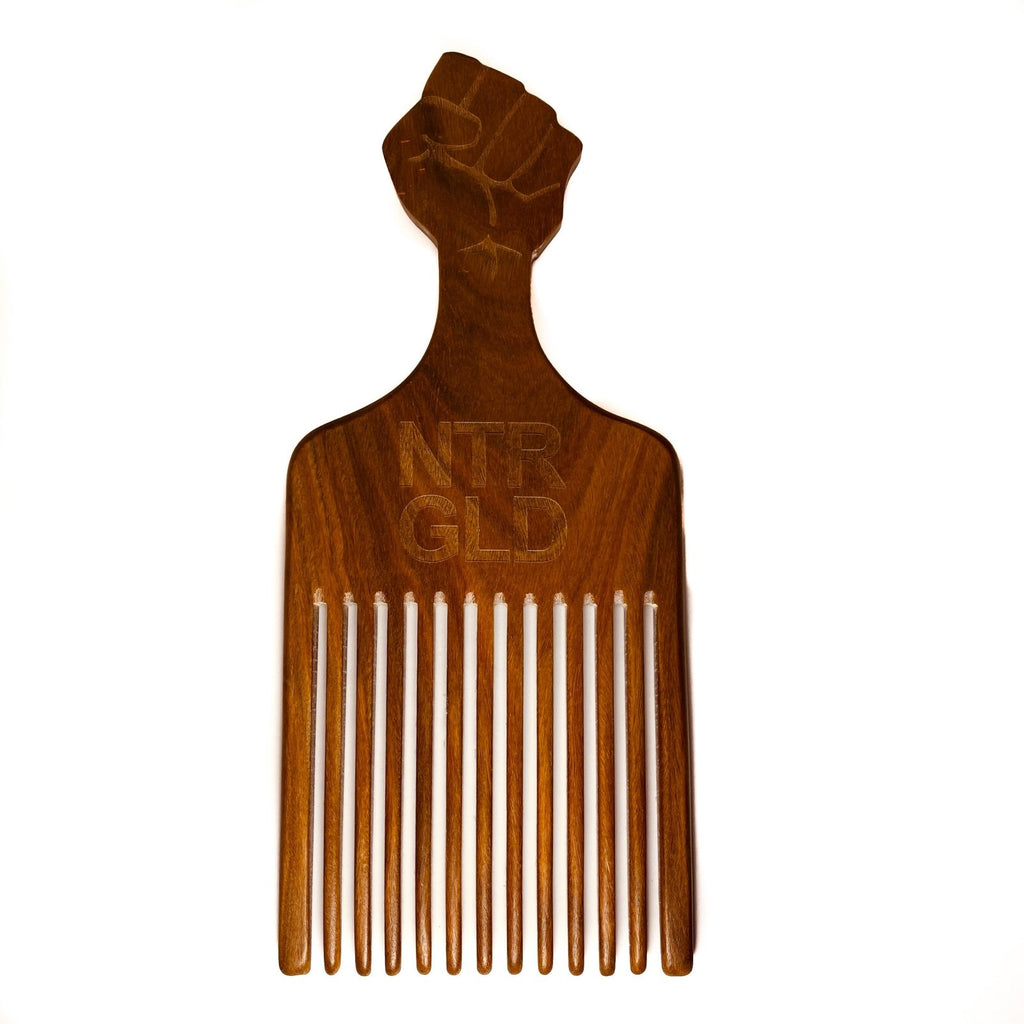 The Really Big Black Fist Afro Power Pick Comb - Neter Gold - NTRGLD