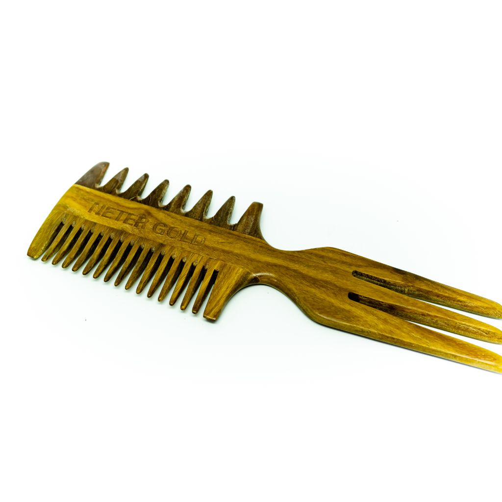 Triple Threat Wooden Combo Comb - Neter Gold - NTRGLD