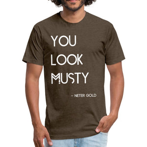 Fitted Cotton/Poly T-Shirt by Next Level You Must Be... Musty - Fitted Cotton/Poly T-Shirt - Neter Gold heather espresso / S