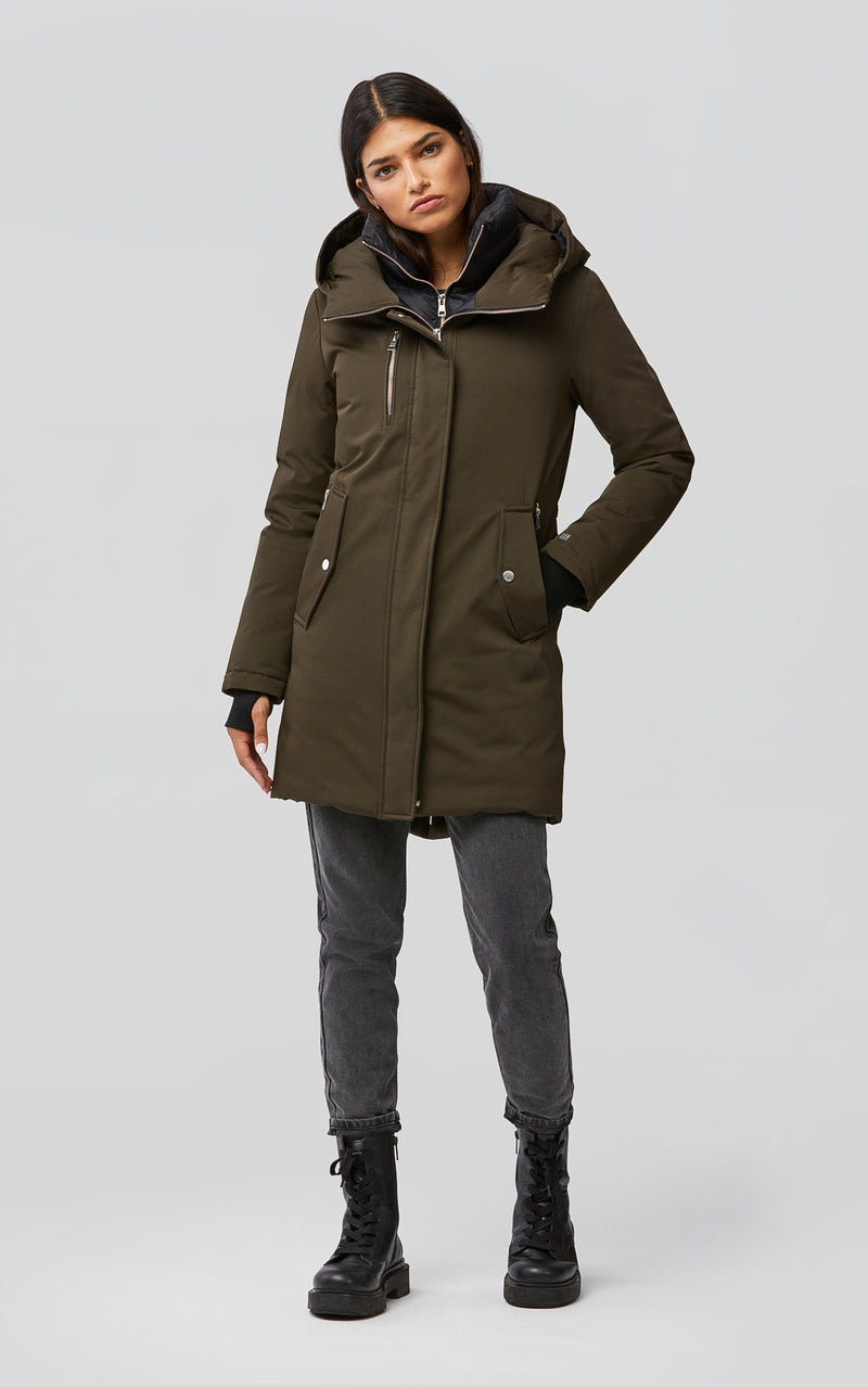 SOIA&KYO BELINA - mid-length classic down coat with puffy bib