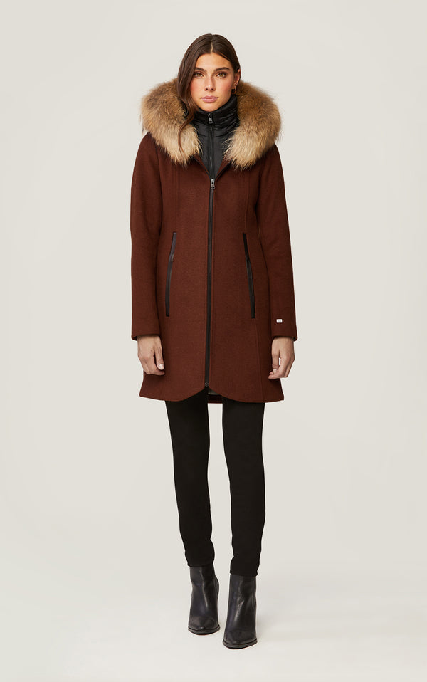 SOIA&KYO CHARLENA - wool coat with removable natural fur