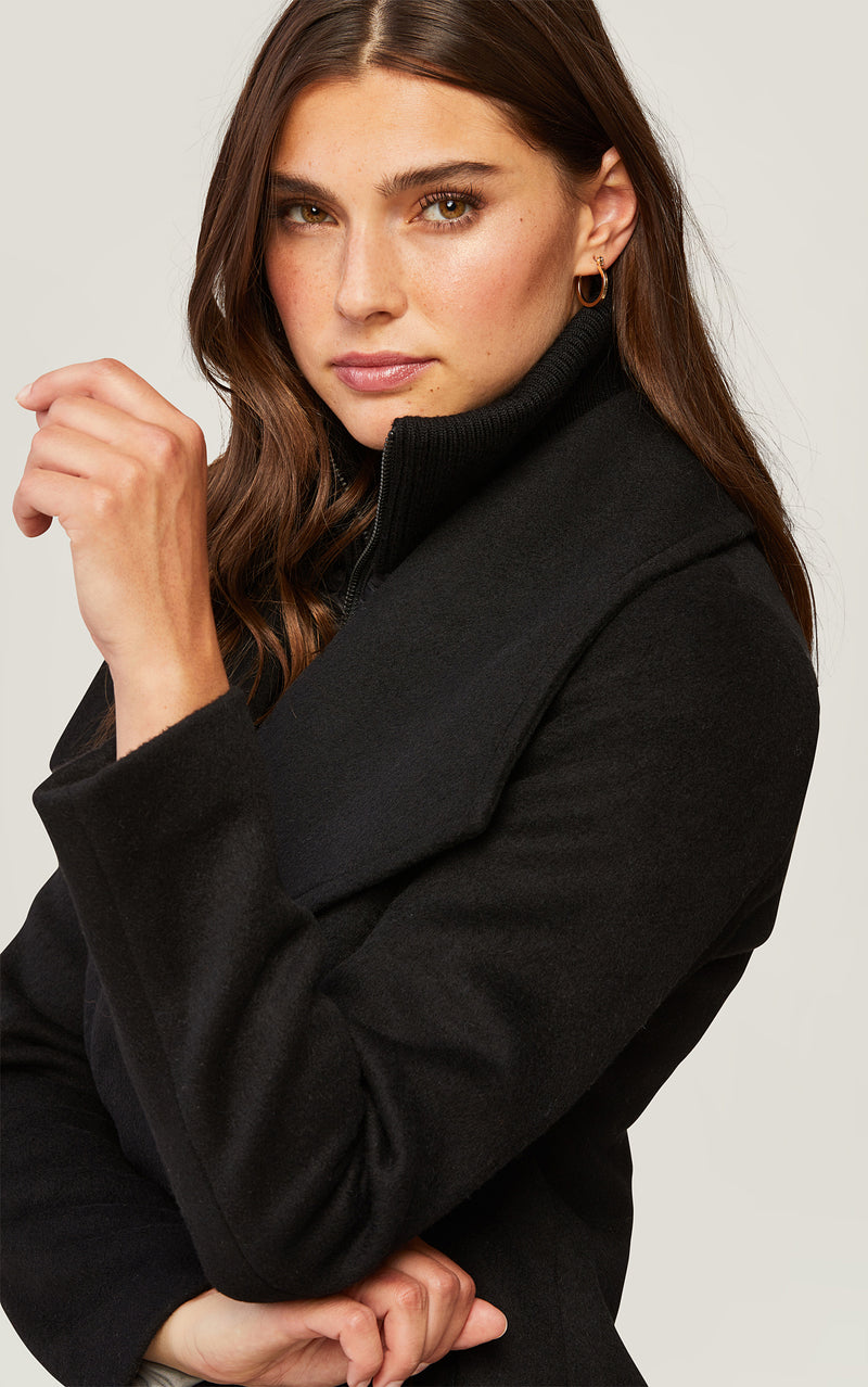 SOIA&KYO MAEVA - classic wool coat with removable bib