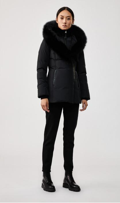 MACKAGE ADALI-BX - down coat with signature blue fox fur collar - Boutique Bubbles