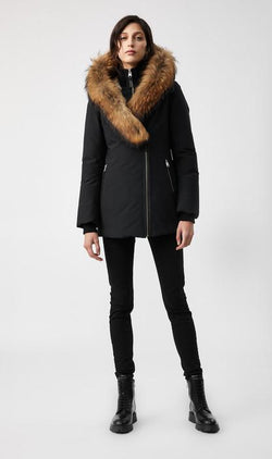 MACKAGE AKIVA-FR - down coat with signature fur trimmed hood (without logo on the left sleeve) - Boutique Bubbles