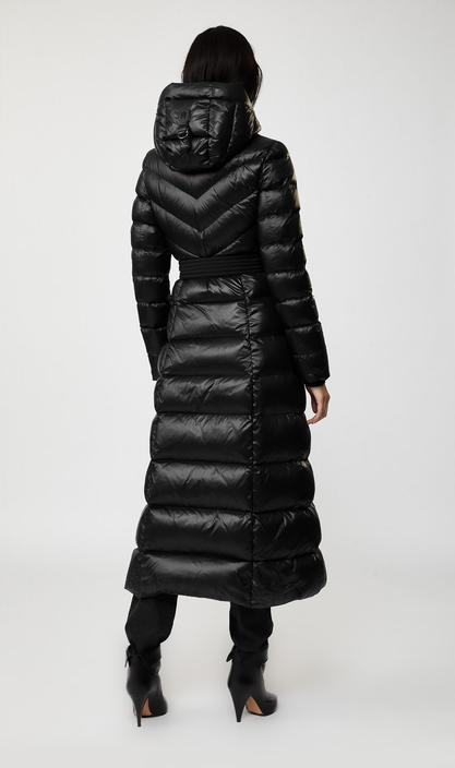 MACKAGE CALINA - maxi length lightweight down coat with sash belt - Boutique Bubbles
