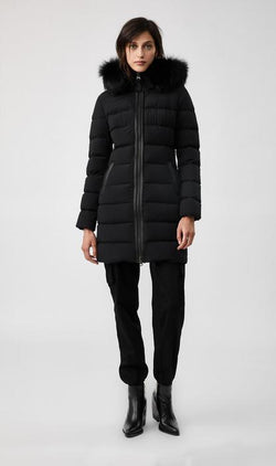 MACKAGE CALLA-X - down coat with removable silverfox fur trim - Boutique Bubbles