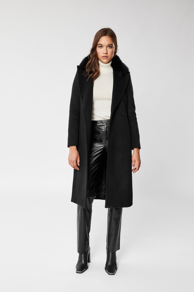 MACKAGE SIENNA - tailored wool-cashmere coat with natural fur collar - Boutique Bubbles