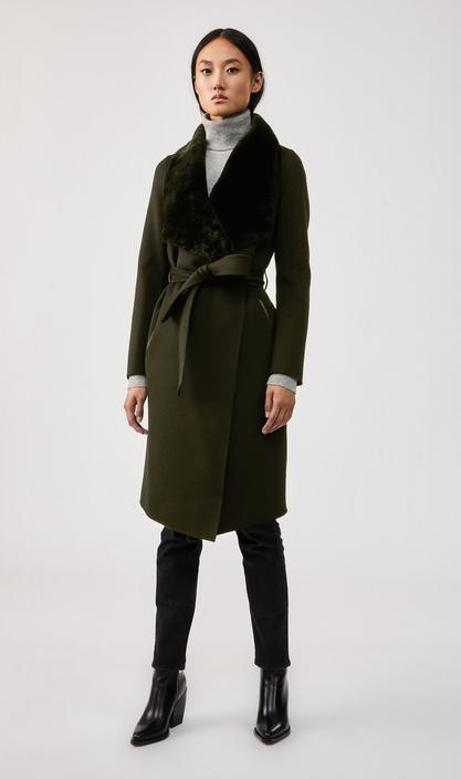 MACKAGE SYBIL - double-face wool coat with sheepskin winged collar - Boutique Bubbles