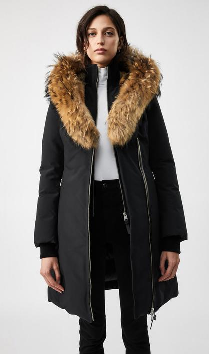 MACKAGE TRISH -down coat with signature fur trimmed collar & hood - Boutique Bubbles