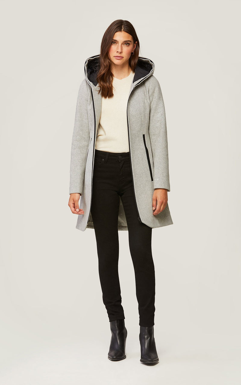 SOIA&KYO CHARLENA-X - slim-fit wool coat with removable silver fur - Boutique Bubbles