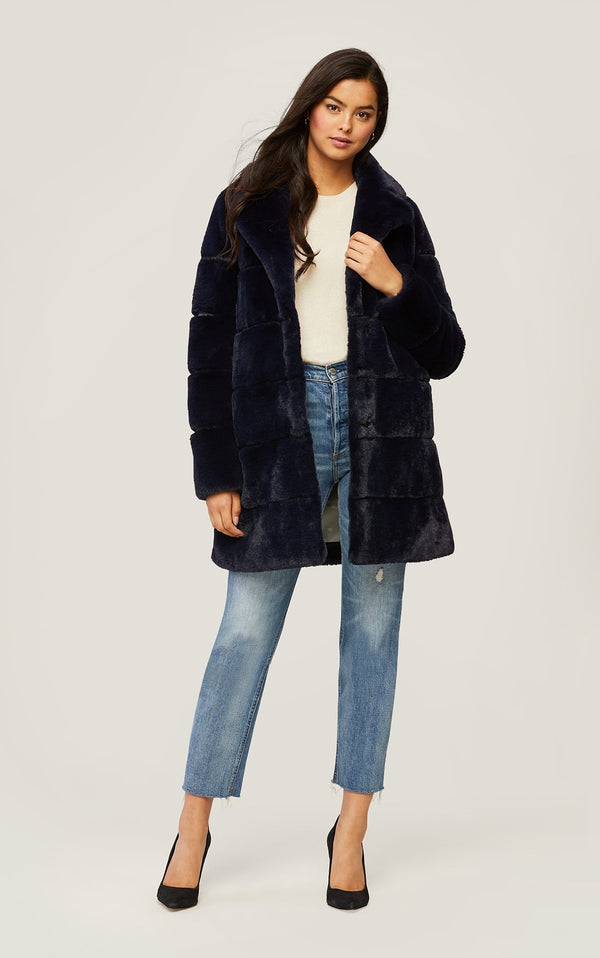 SOIA&KYO JOAN - above-knee-length faux fur coat with notch collar - Boutique Bubbles