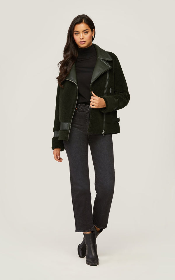 SOIA&KYO LINNEA - faux Sherpa jacket with moto collar - Boutique Bubbles