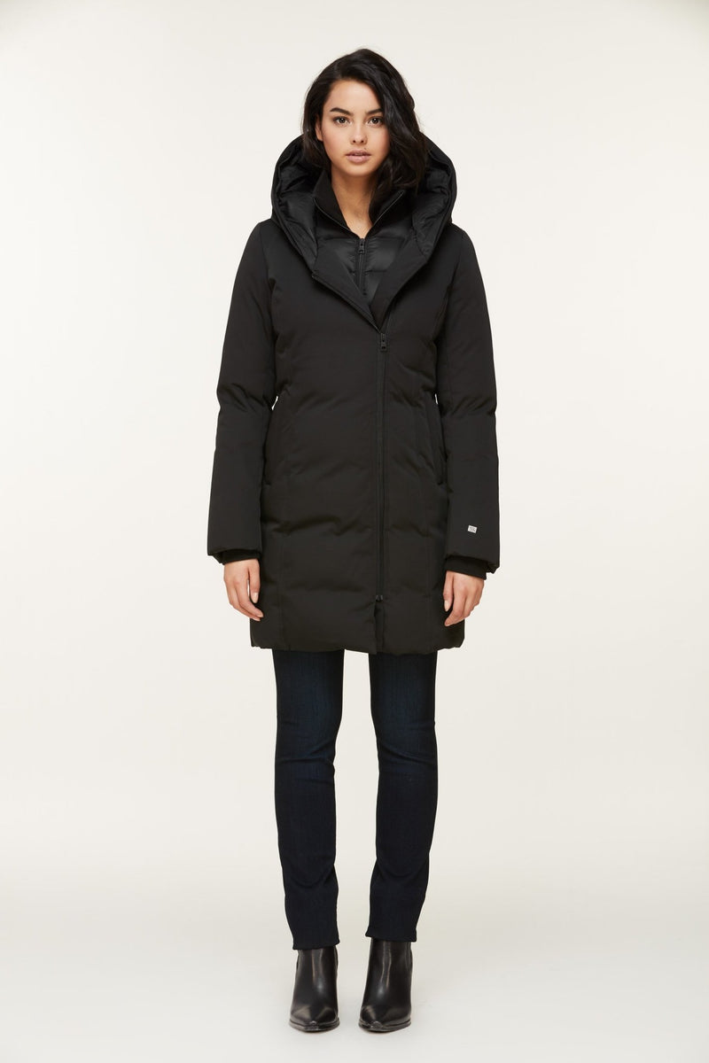 SOIA&KYO SALMA-X - classic down coat with removable silver fur - Boutique Bubbles