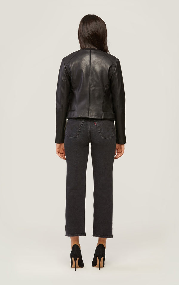 SOIA&KYO SLOANE - slim-fit leather jacket with stand collar - Boutique Bubbles