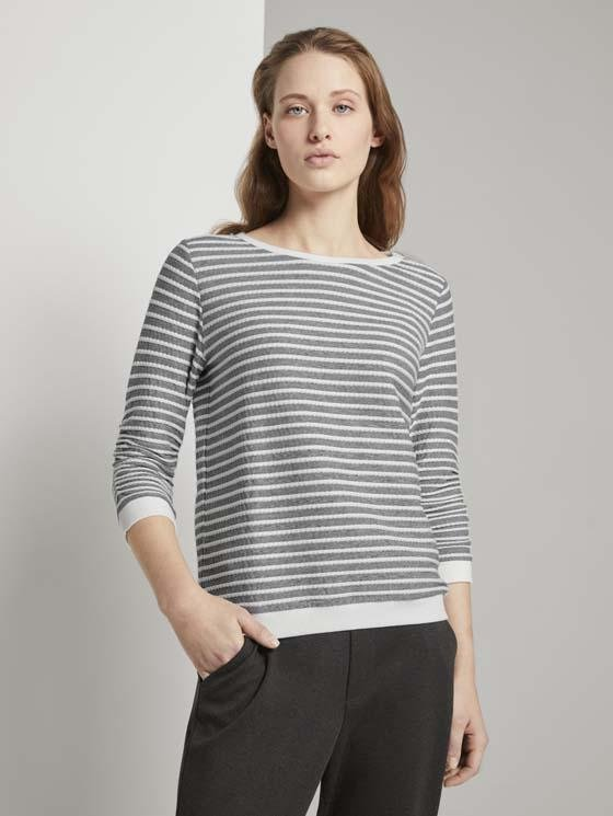 TOM TAILOR - Striped Jacquard sweatshirt - Boutique Bubbles