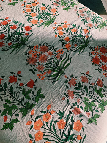 hand block printed fabric in a flower motif