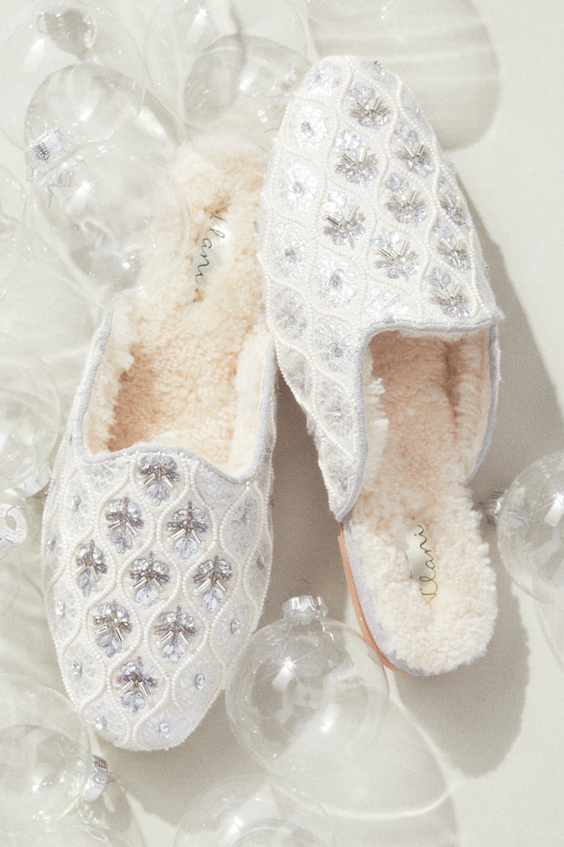 *Pre- Order* Embellished Shearling Smoking Loafer in Dove
