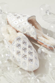 Embellished Shearling Smoking Loafer in Dove